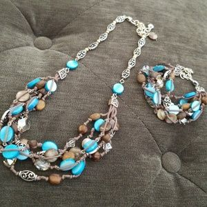 Brighton blue and brown beaded set